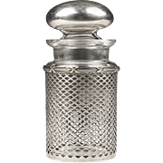 SALE Man's Stoppered Cologne Bottle Inset In Sterling Grillwork Frame, Meriden Britannia Co.