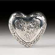 SALE Late 19th C. German Embossed Silver Heart Shaped Snuff Box