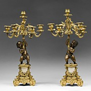 SOLD Pair of French Rococo Louis XV Patinated Dore Bronze Candelabras