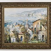 SALE Lucien Delarue Oil Painting of Port de Villefranche, Cote D'Azur