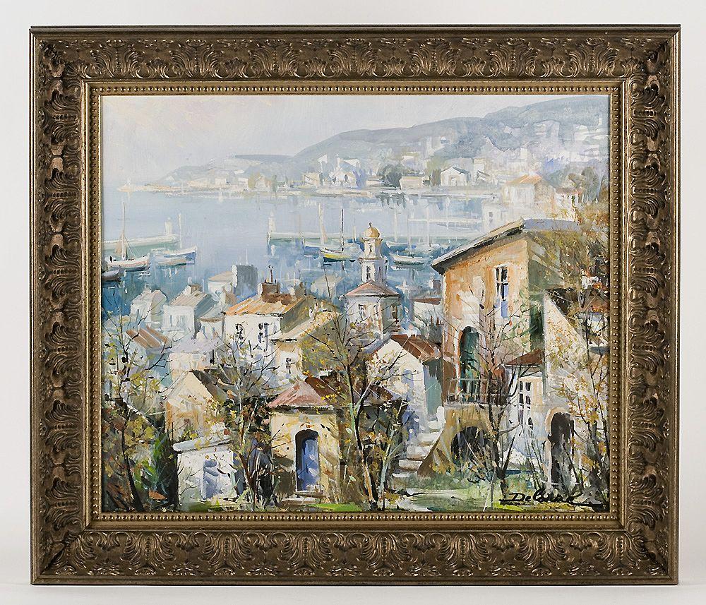 Lucien Delarue Oil Painting of Port de Villefranche, Cote D'Azur