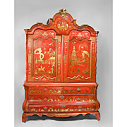 SALE Red Chinoiserie Decorated 19th C. Dutch Linen Press