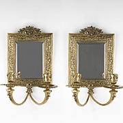 SALE 19th C. French Cast Brass Louis XV Style Mirrored Sconces