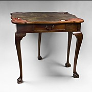 SALE George III Mahogany Fold Over Gaming Card Table, Leather Top