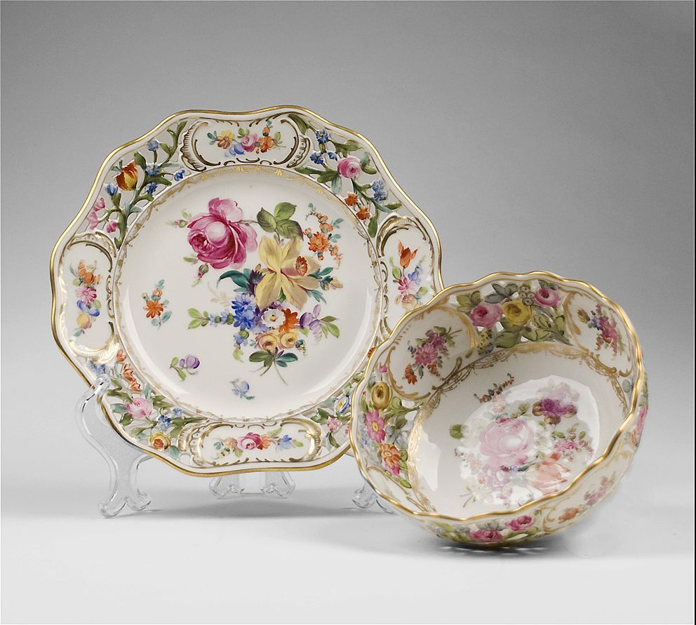 Dresden Reticulated Carl Thieme Fruit Bowl and Underplate
