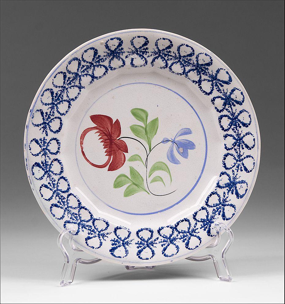 Adams Rose Design Splatter Plate With Blue Bow Knot Border