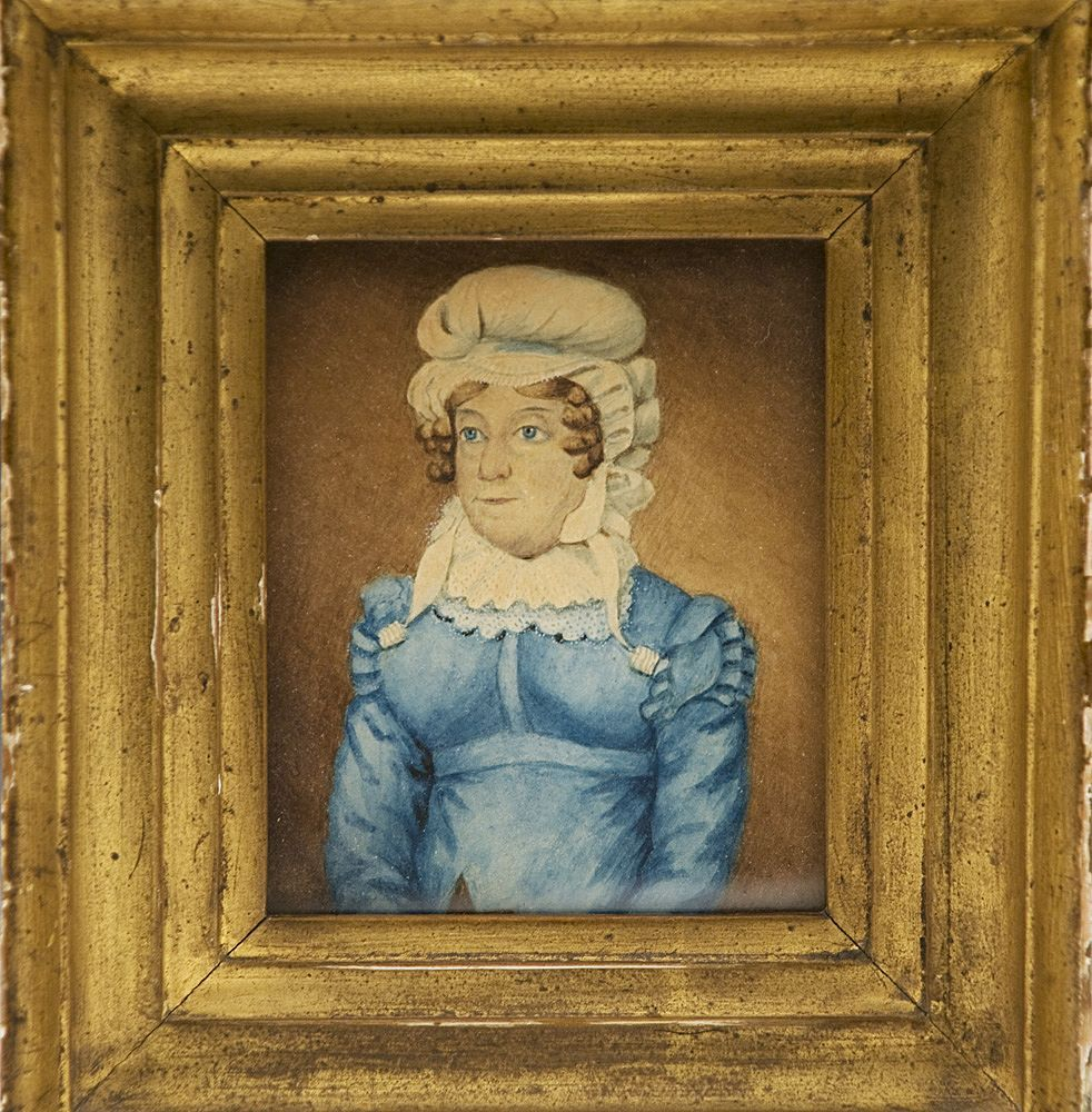 English Miniature Watercolor Portrait On Card of Mrs. Ball, D. 1829