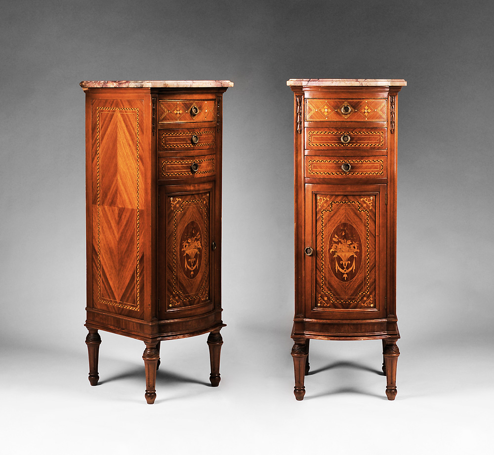Pair of Louis XVI Style Marquetry Stacked Commodes or Semainiers