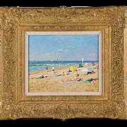 SALE Original Oil on Panel, Niek Van Der Plas (1954), Seaside