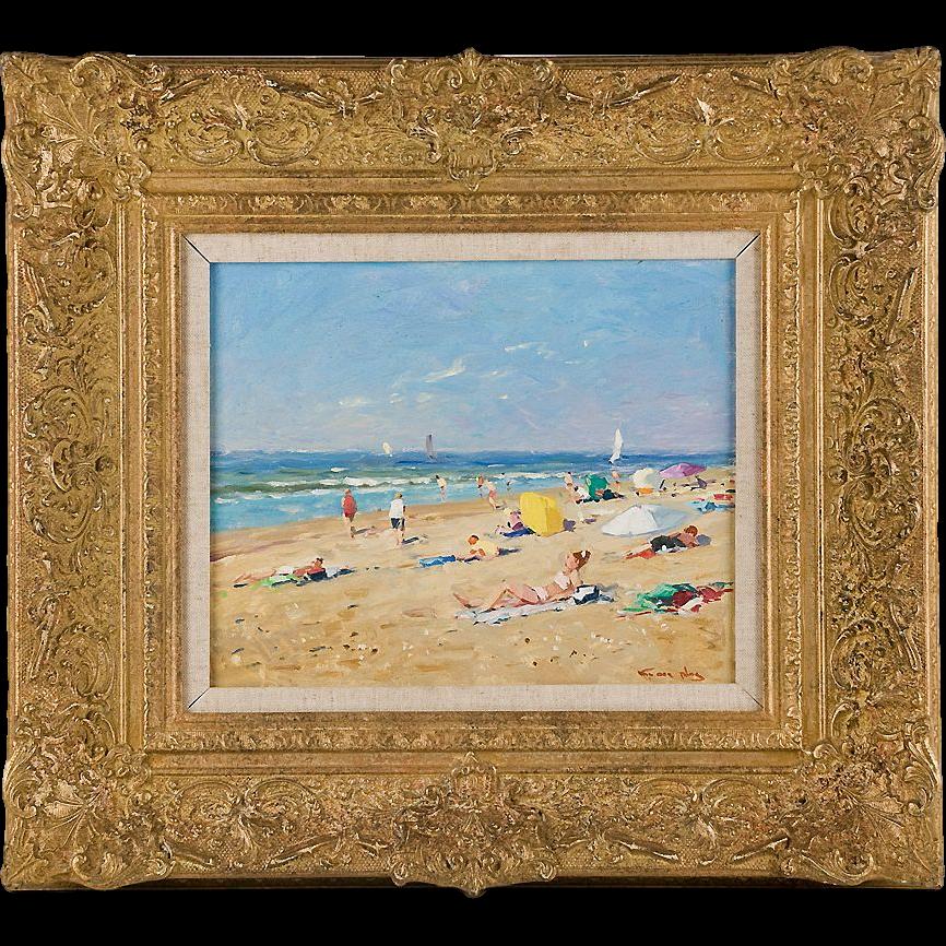 Original Oil on Panel, Niek Van Der Plas (1954), Seaside