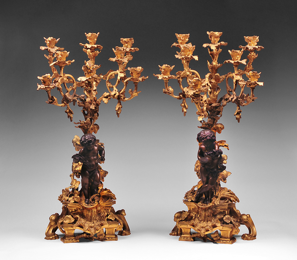 Pr. of Louis XV Doré Bronze and Patinated Candelabras