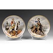 SALE Pr. Of Hand Painted Paris Porcelain Napoleonic Cabinet Plates