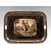 SALE Mid 19th Century Tole Tray Grisaille Scene