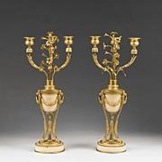 Pair of Napoleon III French Empire Amphora Bronze & Onyx Candelabras