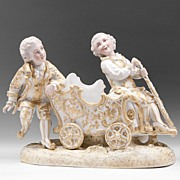 SALE German Dresden Hand Painted Porcelain Figures on Carriage