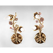 SALE French 19th C. Bronze Floral Form Sconces With Porcelain Flowers