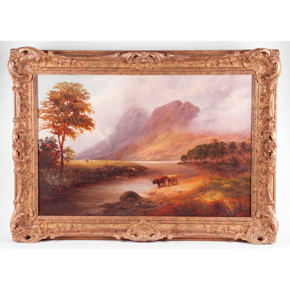 19th C. Oil On Canvas Highland Cattle Landscape by William Mellor