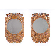 Near Pair of 18th C. French Hand Carved Giltwood Mirrors