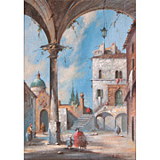Oil On Canvas of Architectural Capriccio After Francesco Guardi