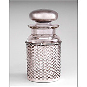 SALE Man's Stoppered Cologne Bottle Inset In Sterling Gillwork Frame, Meriden Britannia Co.