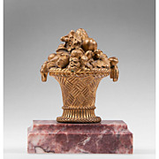 SALE 19th C. French Inkwell Bronze On Marble Stand