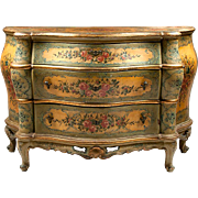 SALE Painted Lacca Povera Venetian Commode or Chest, 19th Century, Floral Reserves