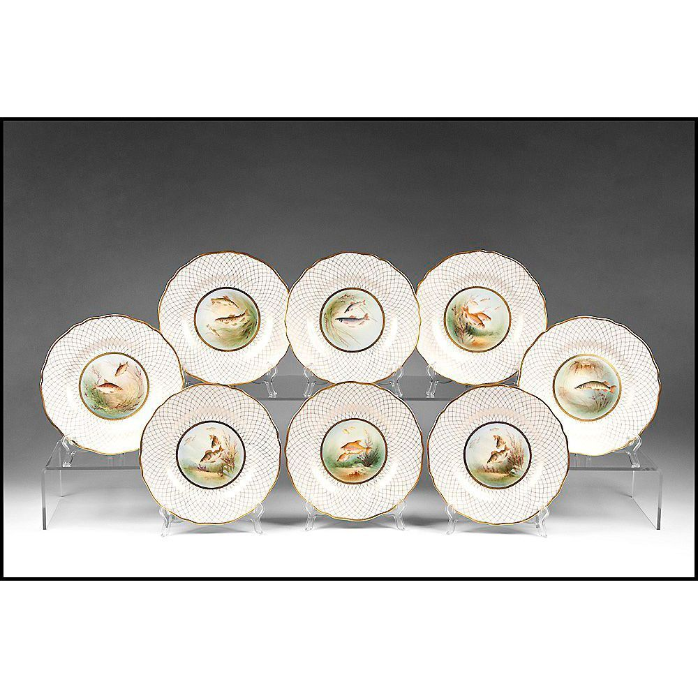 Set of 8 late 19th C. Spode Hand Painted Bone China Game Fish Plates