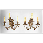 SALE 19th C. Bronze Cast French Baroque Style Three Arm Sconces