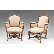 SALE Pair of 18th C. Gesso And Gilt Italian Carved Venetian Rococo Bergeres or Armchairs