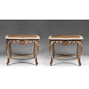 SALE Pr. Of 18th C. Matched Venetian Tabourets Or Stools With Cane Seats