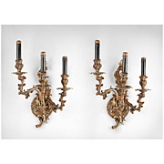 SALE Late 19th C. Identical Pair of Louis XV Scrolled Bronze Sconces