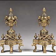 SOLD Pair of 19th C. French Empire Style Bronze Chenets