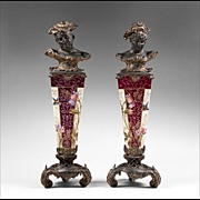 SALE Pair of Art Nouveau Spelter Busts Or Herms Mounted on Enameled Pedestals