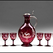 SALE Nine Piece Set of Bohemia Ruby Stained And Engraved Wine Ewer With Goblets