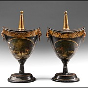 SALE Pair of Early 19th Century Regency Tole Peinte Covered Chestnut Urns