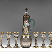 SALE Art Nouveau Bohemian Theresienthal Glass 7 Piece Enamel Wine Set