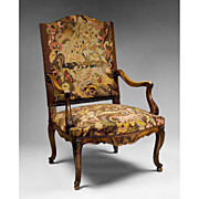 SALE French 19th C. Louis XV French Provincial Armchair With Needlepoint Tapestry