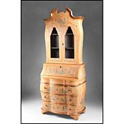 Late 19th C. Lacca Povera Venetian Secretary Bookcase