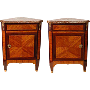 Pair of 18th C. Louis XVI  Corner Cabinets or Encoignures
