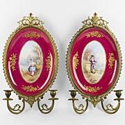 SALE Hand Painted Paris Porcelain Plaques Mounted In Ormolu As Sconces