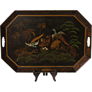 SALE Vintage Tole Tray Painted with Pheasants
