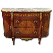 SOLD 19th Century French Louis XVI Demilune Inlaid Commode