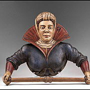 19th C. Tyrolean Hand Carved Figural Towel Rack