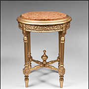 SALE French Second Empire Gilded Gueridon Or Side Table With Inset Marble Top
