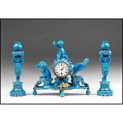 19th C. Blue Turquoise Glazed Sevres Style Clock Garniture Set