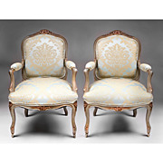 Pair of 19th C. Painted Louis XV Fauteuils a la Reine or Chairs