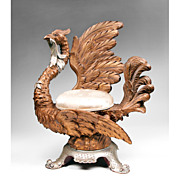 Late 19th C. Italian Venetian Carved Grotto Chair of Exotic Bird