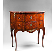 19th C. Louis XV Petite Marquetry Commode Marble Top