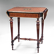 SALE Louis XVI Bois de Satine Parquetry Drop Leaf Table
