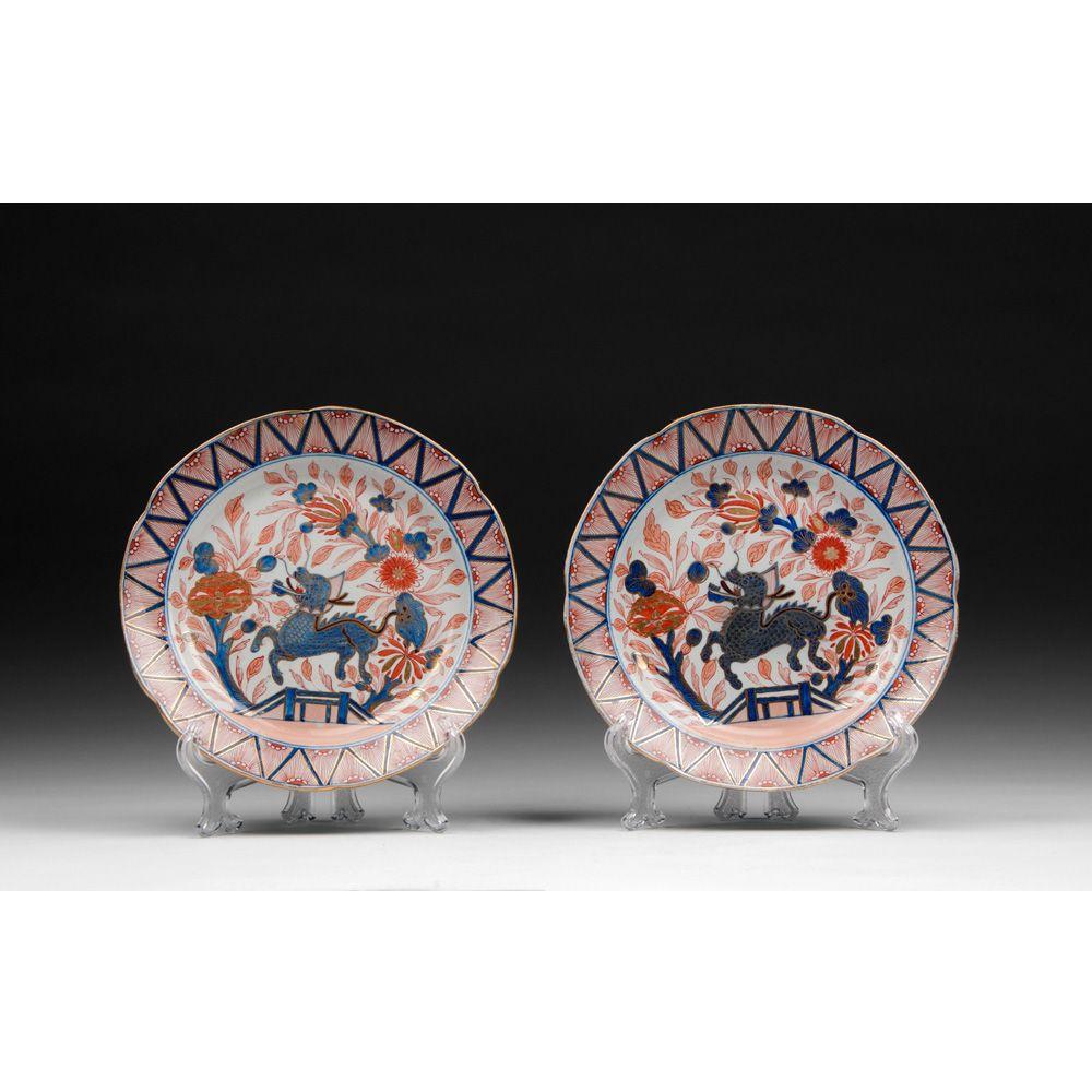 Pr. Of Rare 1795 William And John Turner Porcelain Imari Plates